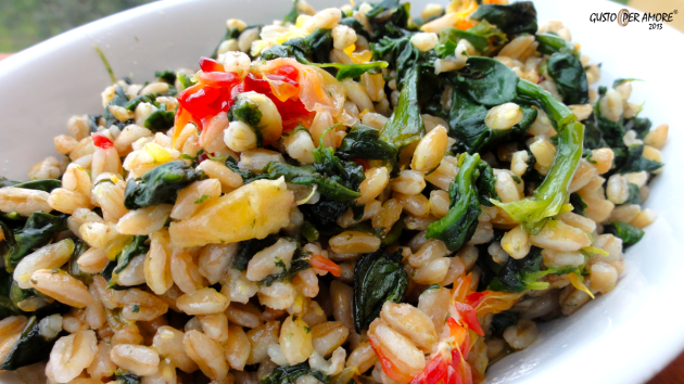 Farro recipe Farro with spinach and orange- Recipes with olive oil