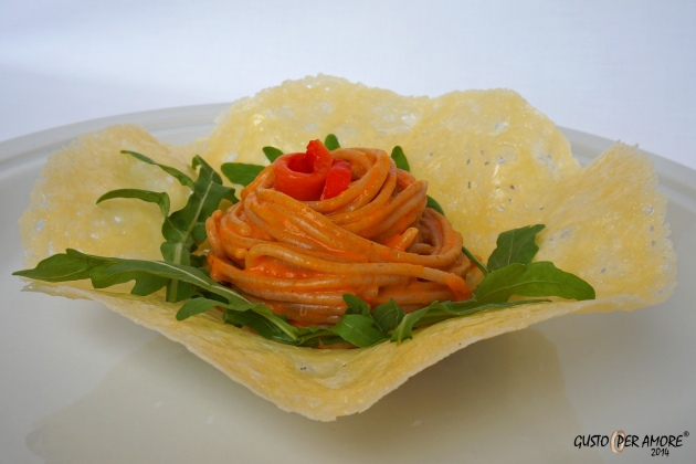 roasted red peppers farro pasta served in a parmesan basket; olive oil recipes
